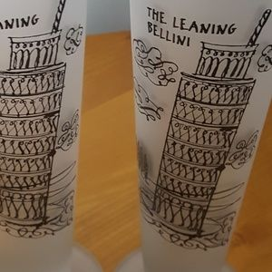 Frosted Fluted set of 2 Dining - The Leaning Bellini Champagne Glasses